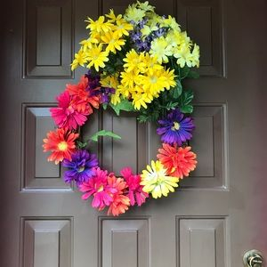 Wreath hand made, as shown, bright colorful,
